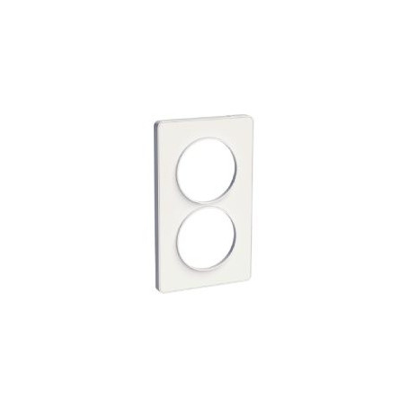 PLAQUE 2 POSTES ODACE BLANC  - VERTICAL