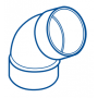 COUDE PVC FEMELLE-FEMELLE 67°30 Ø 40