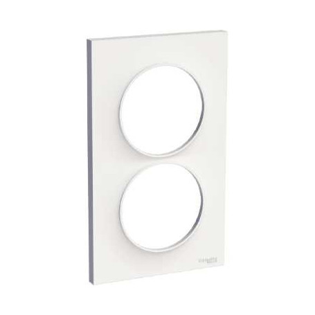 PLAQUE 2 POSTES ODACE BLANC BRILLANT - VERTICAL