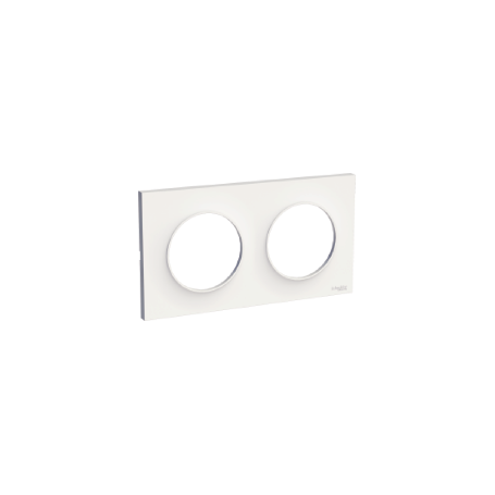 PLAQUE 2 POSTES ODACE BLANC BRILLANT - HORIZONTALE