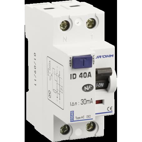 Interrupteur différentiels 40A - type A - Phase + Neutre