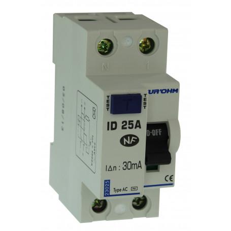 Interrupteur différentiel 25A type AC - Phase + Neutre