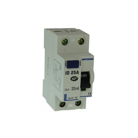 Interrupteur différentiels 25A type A - Phase + Neutre