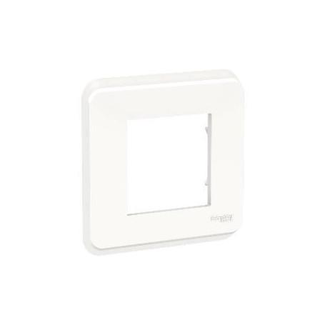 Plaque de finition - Blanc - Liseré transparent - 1 poste