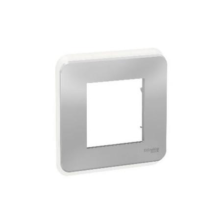 Plaque de finition - Alu - Liseré transparent - 1 poste