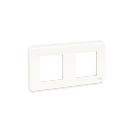 Plaque de finition - Blanc - Liseré transparent - 2 postes