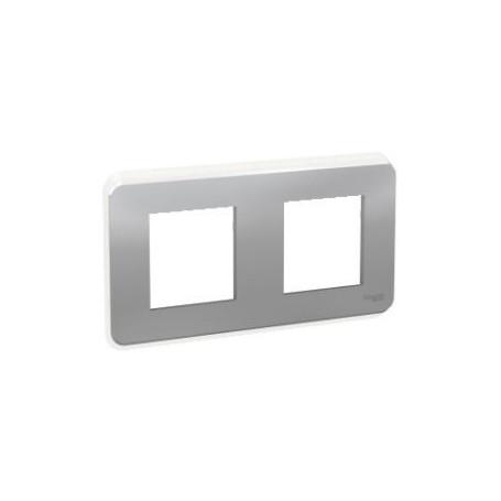 Plaque de finition - Alu - Liseré transparent - 2 postes