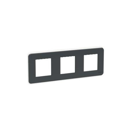 Plaque de finition - Anthracite - 3 postes - Liseré transparent