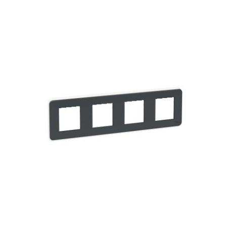 Plaque de finition - Anthracite - 4 postes - Liseré transparent