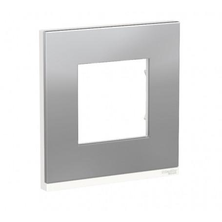Plaque de finition - Aluminium liseré Blanc - 1 poste