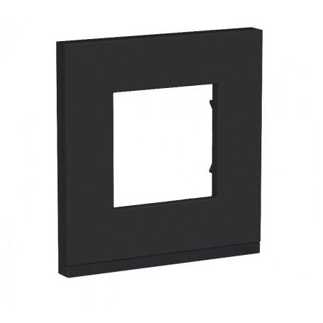 Plaque de finition - Gomme noir liseré Anthracite - 1 poste