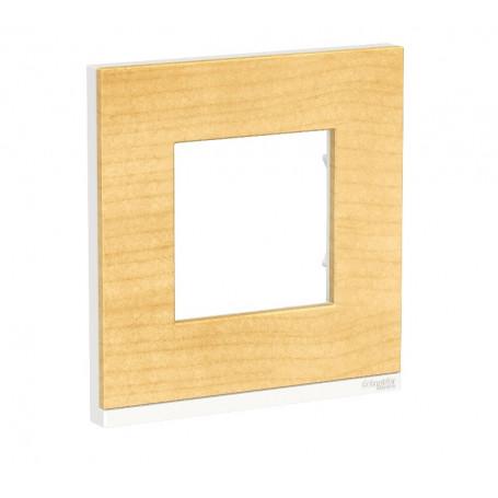 Plaque de finition - Bois nordique liseré Blanc - 1 poste