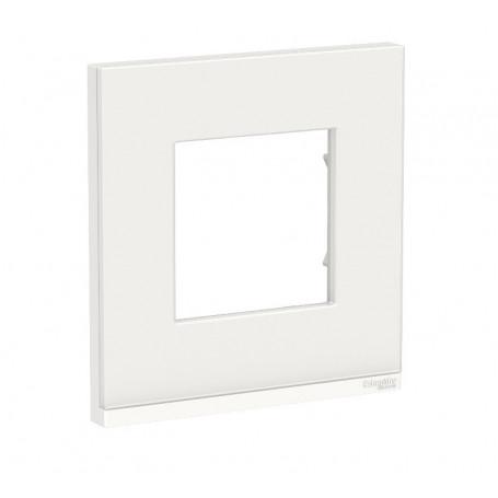 Plaque de finition - Givre blanc liseré Blanc - 1 poste