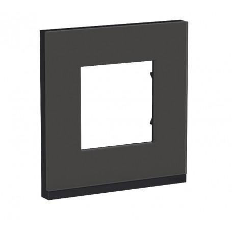 Plaque de finition - Givre noir liseré anthracite - 1 poste