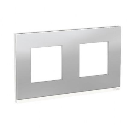 Plaque de finition - Aluminium liseré Blanc - 2 postes
