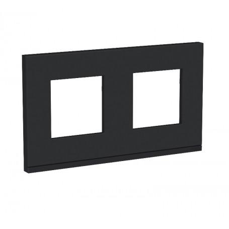 Plaque de finition - Gomme noire liseré anthracite - 2 postes