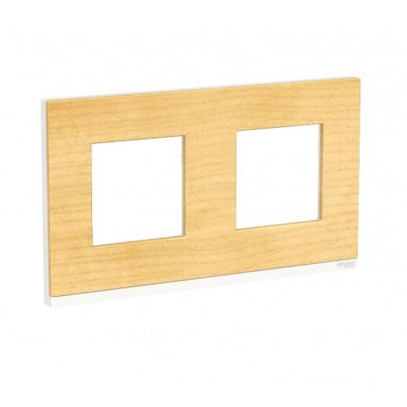 Plaque de finition - Bois nordique liseré blanc - 2 postes