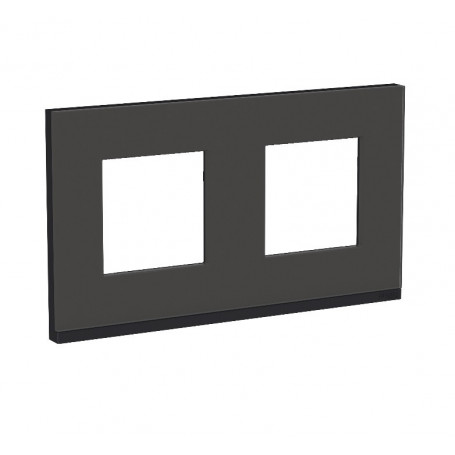 Plaque de finition - Givre noir liseré anthacite - 2 postes