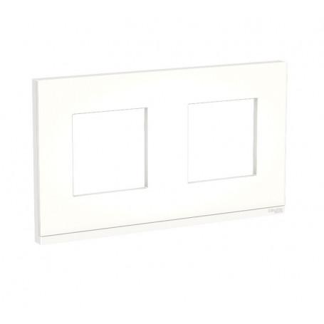 Plaque de finition - Translucide liseré blanc - 2 postes