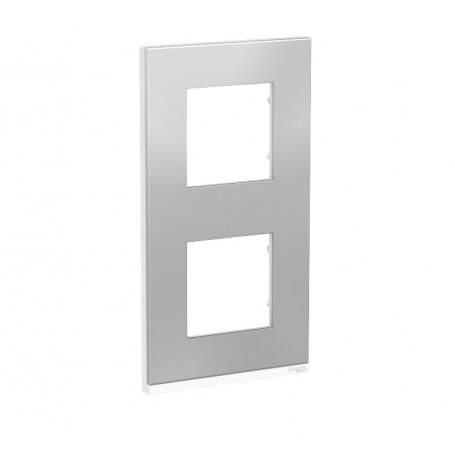 Plaque de finition - Aluminium liseré Blanc - 2 postes verticaux