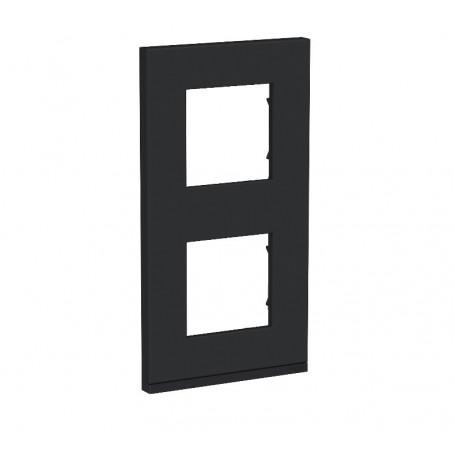 Plaque de finition - Gomme noire liseré anthracite - 2 postes verticaux