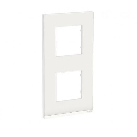Plaque de finition - Givre blanc liseré blanc - 2 postes verticaux