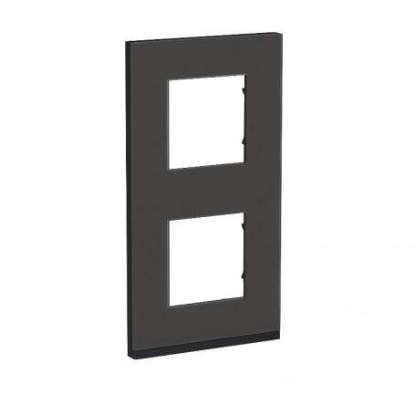 Plaque de finition - Givre noir liseré anthracite - 2 postes verticaux