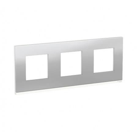 Plaque de finition - Aluminium liseré Blanc 3 postes