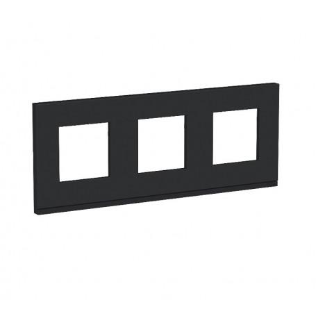 Plaque de finition - Gomme noire liseré anthracite 3 postes