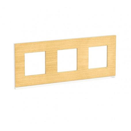 Plaque de finition - Bois nordique liseré Blanc - 3 postes