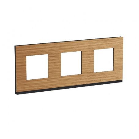 Plaque de finition - Chêne liseré anthracite - 3 postes
