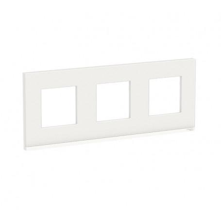 Plaque de finition - Givre blanc liseré blanc - 3 postes