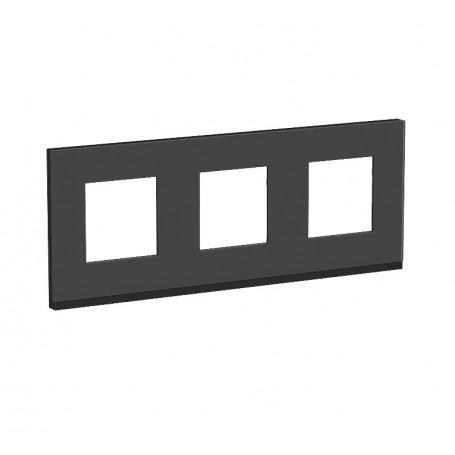 Plaque de finition - Givre noir liseré anthracite - 3 postes