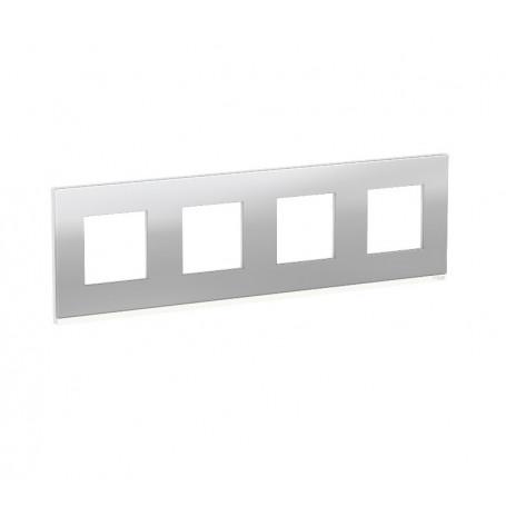 Plaque de finition - Aluminium liseré Blanc - 4 postes