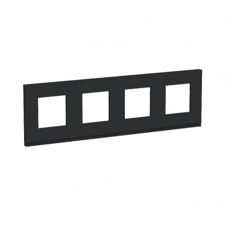 Plaque de finition - Gomme noire liseré anthracite - 4 postes