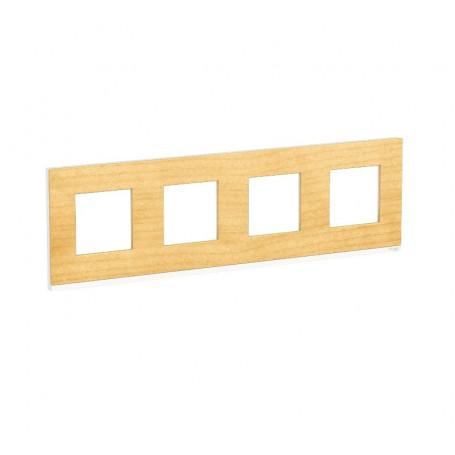 Plaque de finition - Bois nordique liseré blanc - 4 postes
