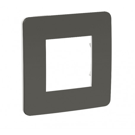 Plaque de finition - gris foncé - Liseré blanc - 1 poste