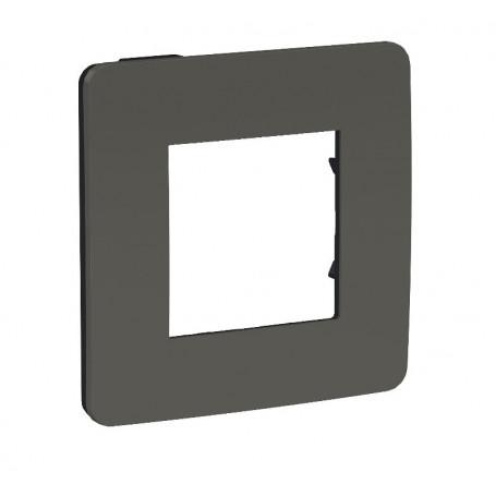 Plaque de finition - gris foncé - Liseré anthracite - 1 poste