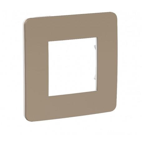 Plaque de finition - taupe - Liseré blanc - 1 poste