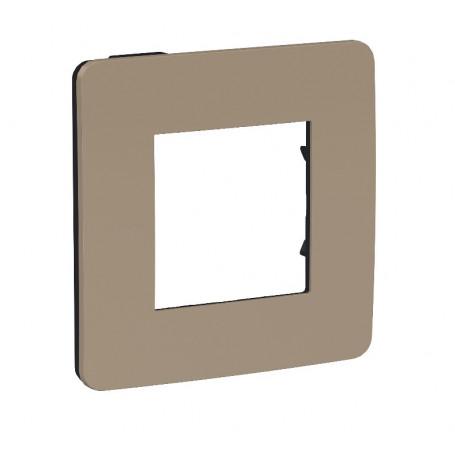 Plaque de finition - taupe - Liseré anthracite - 1 poste