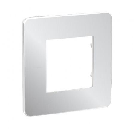 Plaque de finition - Aluminium - Liseré blanc - 1 poste