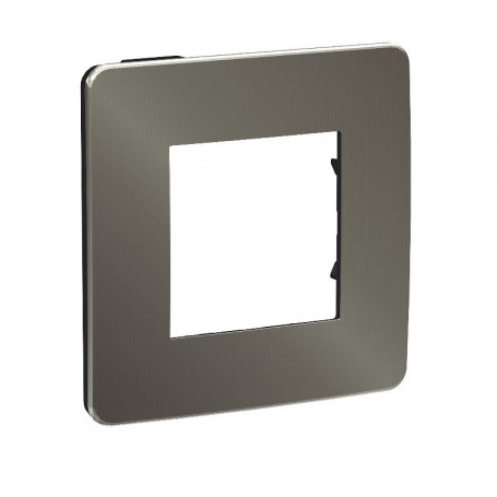 Plaque de finition - black aluminium - Liseré anthracite - 1 poste
