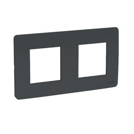 Plaque de finition - anthracite - 2 postes