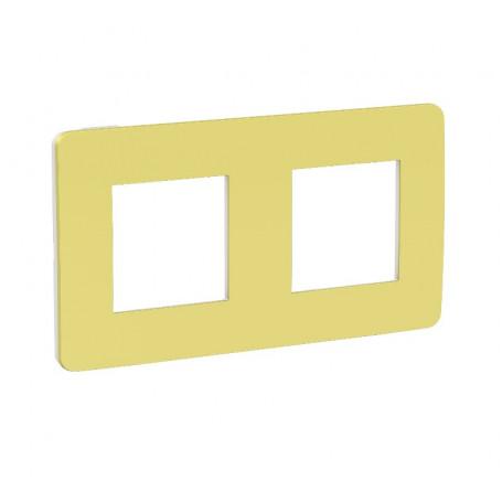 Plaque de finition - vert acidulé - liseré blanc - 2 postes