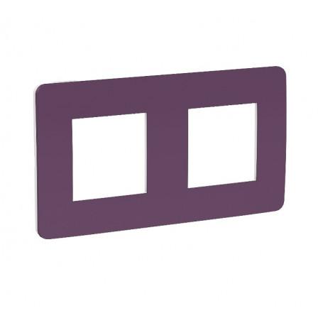 Plaque de finition - prune - liseré blanc - 2 postes
