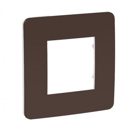 Plaque de finition - chocolat - liseré blanc - 2 postes
