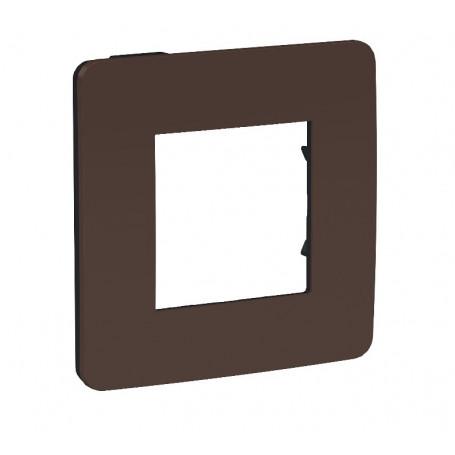 Plaque de finition - chocolat - liseré anthracite - 2 postes