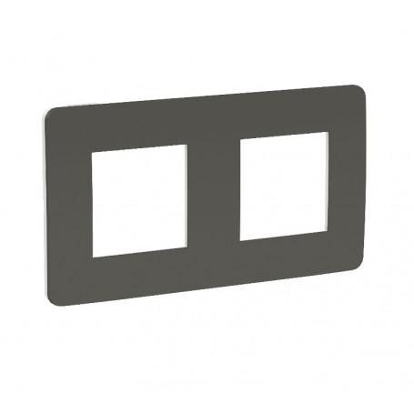 Plaque de finition - gris foncé - liseré blanc - 2 postes