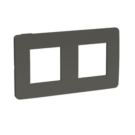 Plaque de finition - gris foncé - liseré anthracite - 2 postes
