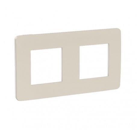 Plaque de finition - gris pierre - liseré blanc - 2 postes